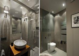 Szara łazienka o niewielkim metrażu - Archissima