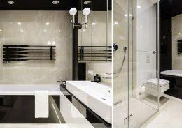 Wysoki połysk w czarno-białej łazience - Dragon Art