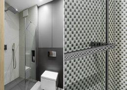 Aranżacja szarej łazienki z prysznicem - Dragon Art