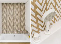 Biało-brązowa łazienka w minimalistycznym stylu - Dragon ARt