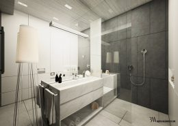 Biało-grafitowa łazienka w nowoczesnym stylu - Bartek Włodarczyk