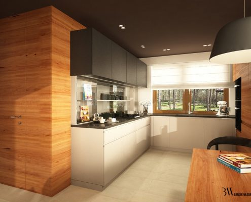Czarno-biała kuchnia zestawiona z drewnem - Bartek Włodarczyk