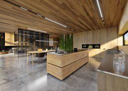 Drewno i beton w otwartej kuchni - Kando