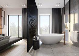 Duża, minimalistyczna sypialnia z łazienką - Kando