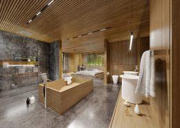 Duży pokój kąpielowy w sąsiedztwie sypialni