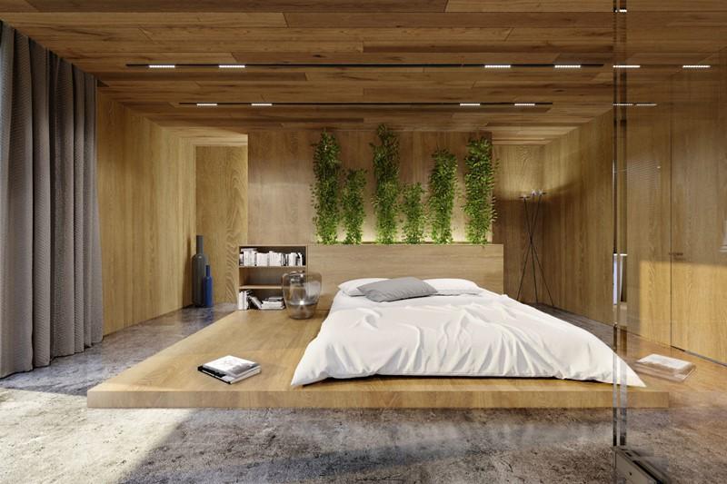 Ekskluzywna sypialnia w drewnie