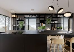Kuchnia i pokój dzienny w nowoczesnym apartamencie