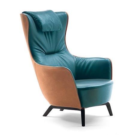 Fotel z wysokim oparciem MAMY BLUE Poltrona Frau
