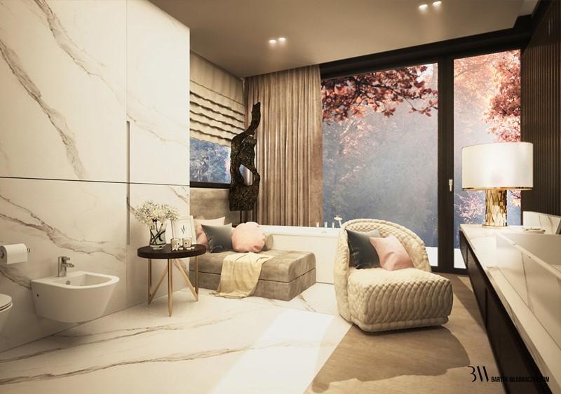 Nastrojowy pokój kąpielowy w jasnych kolorach - Bartek Włodarczyk