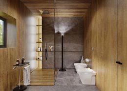 Nowoczesna łazienka wykończona fornirem - Kando