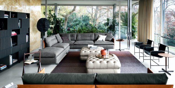 Nowoczesne meble w minimalistycznym salonie - Poltrona Frau