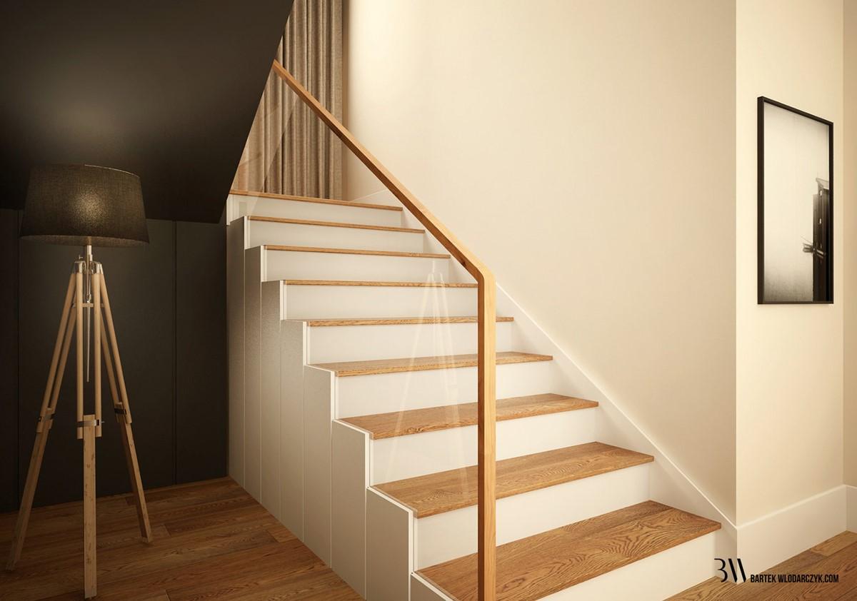 Nowoczesne schody w bieli i drewnie - Bartek Włodarczyk