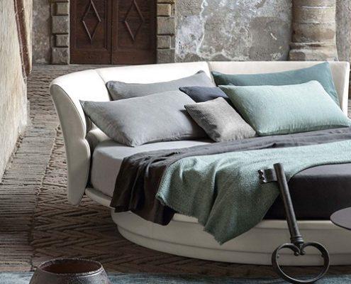 modna sypialnia - Okrągłe łóżko do sypialni - Poltrona Frau