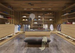 Projekt dużej, kwadratowej garderoby