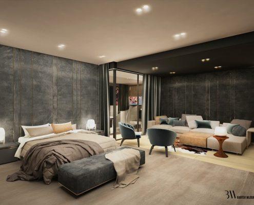 Modna sypialnia - projekt dużej sypialni