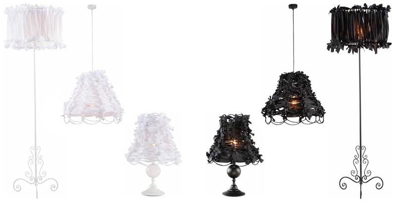 Stylowe lampy Art Deco białe i czarne