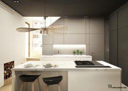 Szaro-biała kuchnia z wyspą - Bartek Włodarczyk