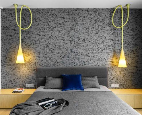 Szaro-biała sypialnia z oryginalnym oświetleniem - Dragon Art