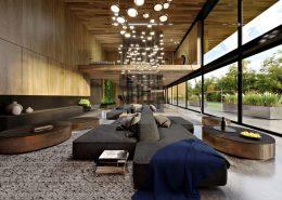 Wnętrze nowoczesnej rezydencji w drewnie
