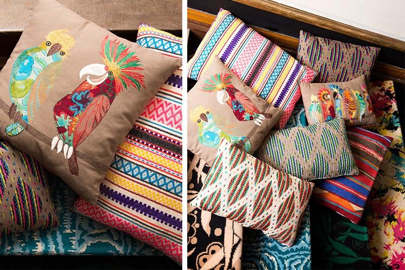 Wnętrze w stylu australijskim poduszki kolorowe