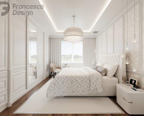Biel w sypialni modern classic