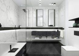 Czarno-biała łazienka w kamieniu