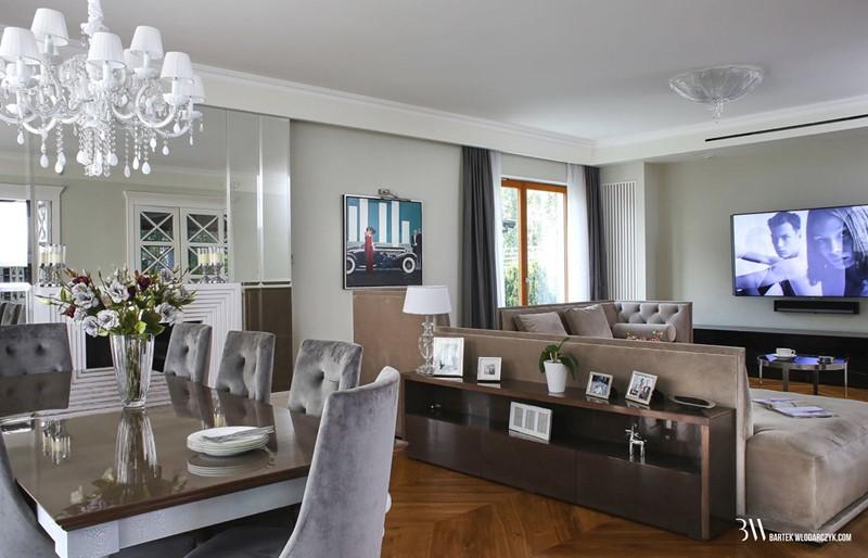 Elegancki salon połączony z jadalnią
