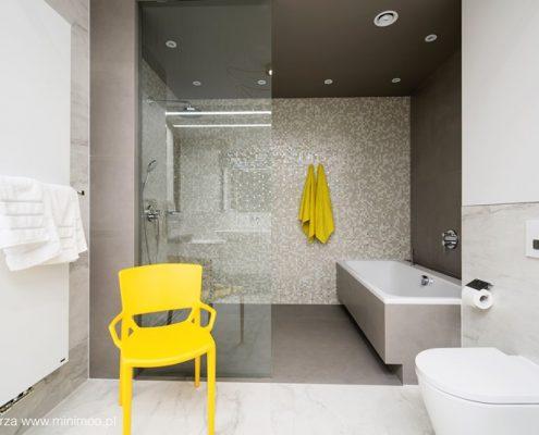 Otwarta kabina prysznicowa w nowoczesnej łazience - Minimoo