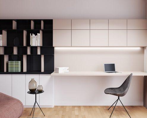 Projekt pokoju z zabudową i biurkiem - Xicorra