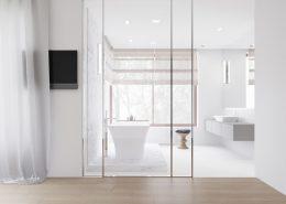 Projekt przeszklonej łazienki - styl nowoczesny