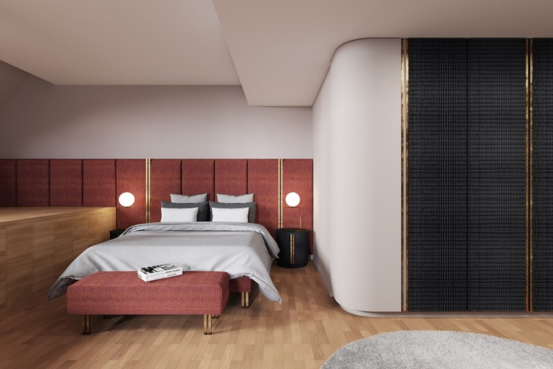 Modna sypialnia - projekt sypialni o niestandardowym układzie - Xicorra
