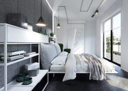 modna sypialnia- przestronna sypialnia z ukrytą garderobą