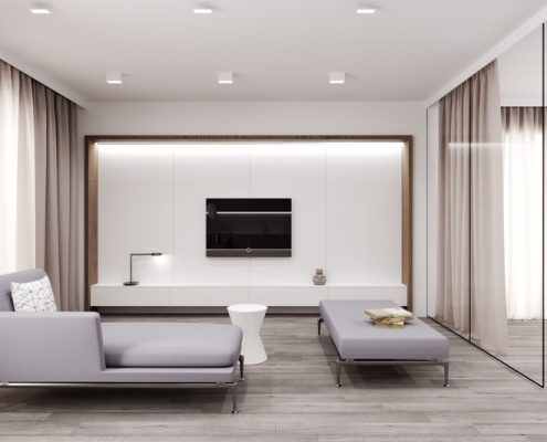 Salon z przeszklona sypialnią