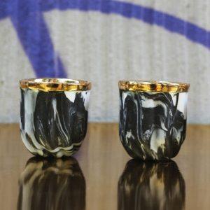 Porcelanowy kieliszek do espresso Kieliszki Cream, porcelana, złoto
