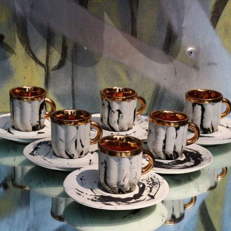 Crema zestaw filiżanek, porcelana, złoto