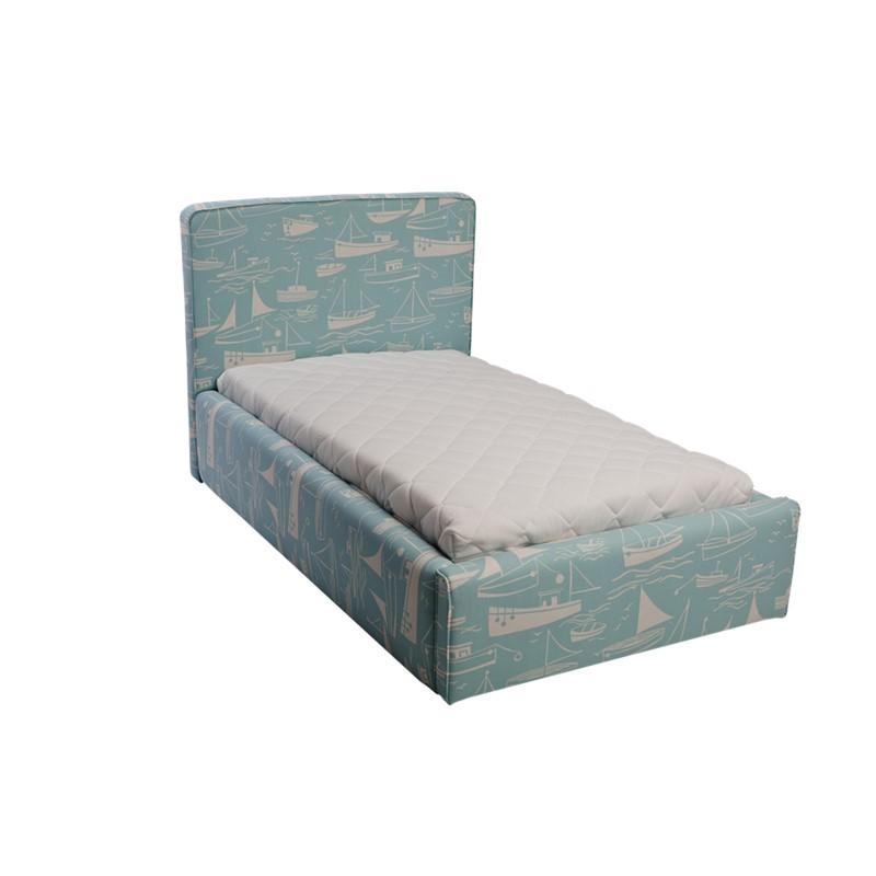 Błękitne łóżko dziecięce statki basic slim