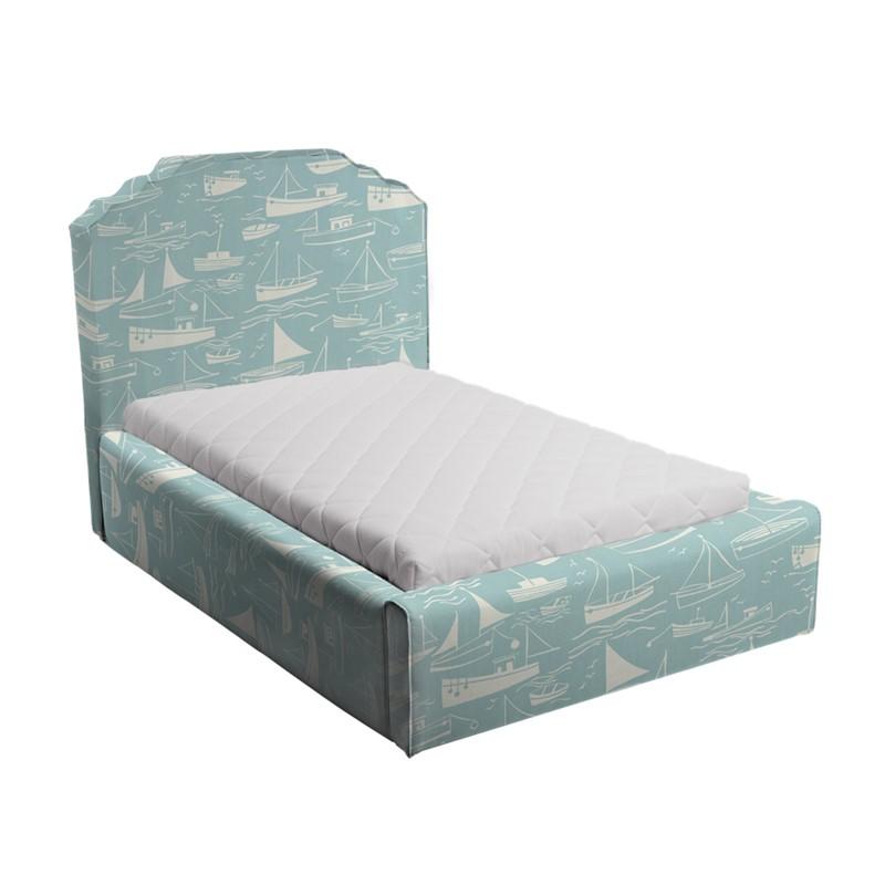 Błękitne łóżko dziecięce statki royal