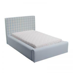 Błękitne łóżko młodzieżowe w kratkę Basic