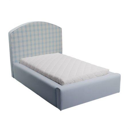 Błękitne łóżko młodzieżowe w kratkę caroline