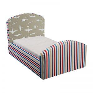 Beżowe łóżko dziecięce samoloty caroline plus