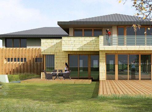 Beżowy dom w nowoczesnym stylu