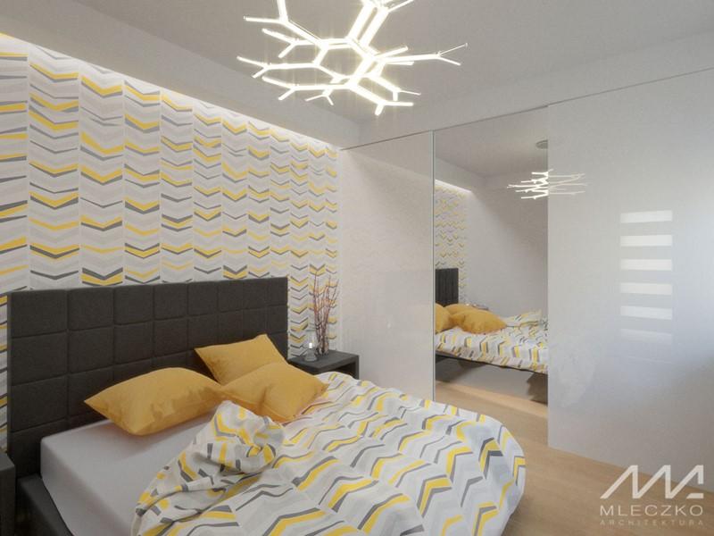 Biało-żółta sypialnia w nowoczesnym stylu