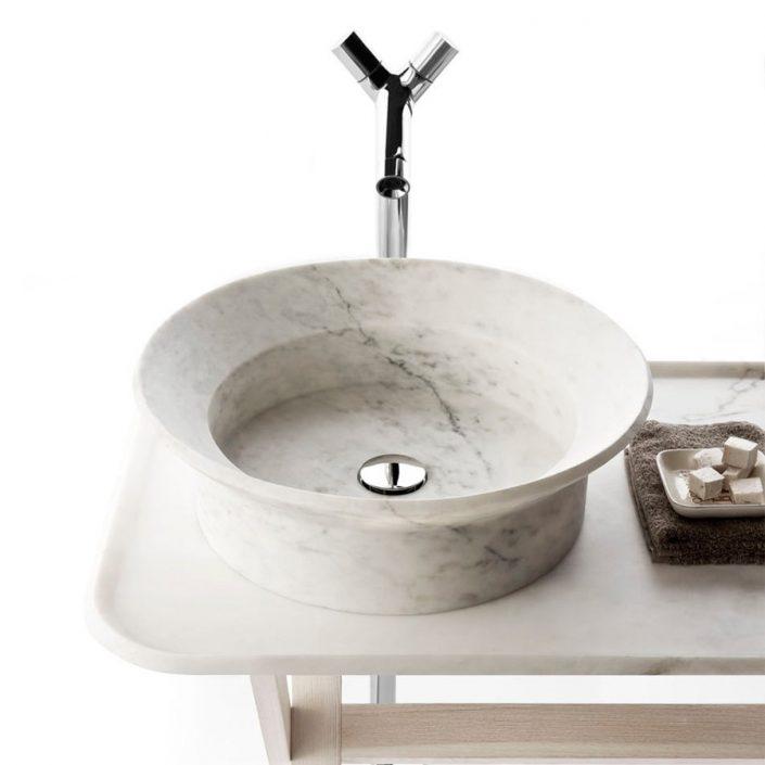 Cylindryczna umywalka z marmuru BOWL n7