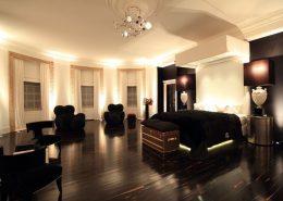 Designerskie meble w dużej sypialni