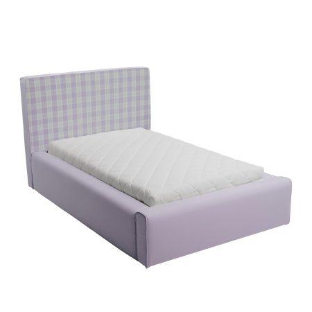 Fioletowe łóżko młodzieżowe w kratkę basic