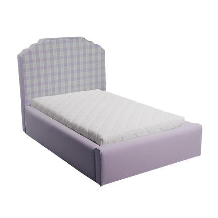 Fioletowe łóżko młodzieżowe w kratkę royal