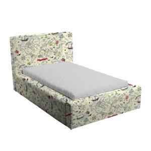 Kremowe łóżko dziecięce mapa piratów basic