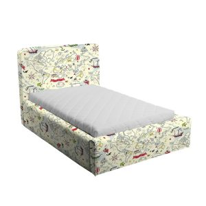 Kremowe łóżko dziecięce mapa piratów basic slim