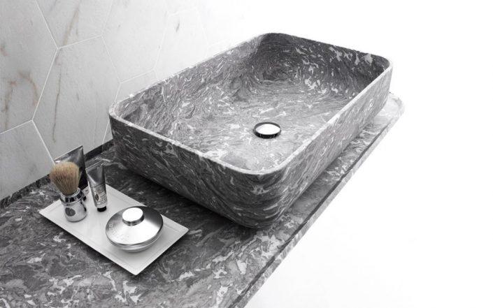 Marmurowa taca pod umywalkę