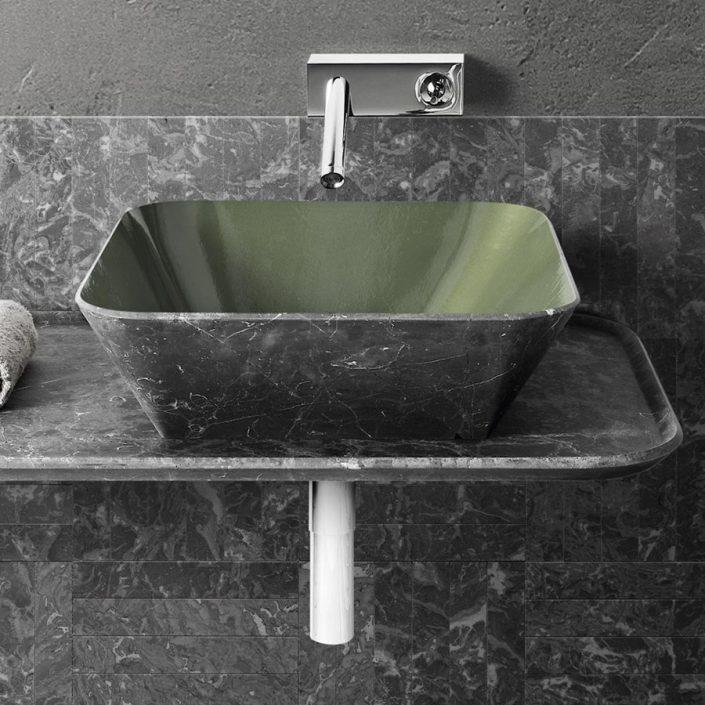 Marmurowa umywalka z malowanym wnętrzem Optional shades